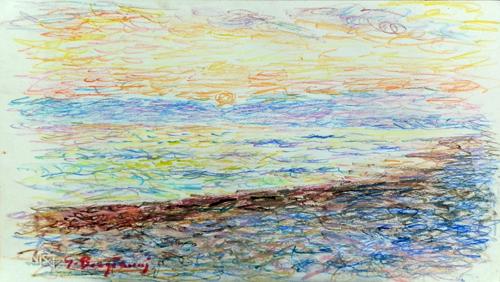 Quadro di Guido Borgianni Tramonto - isola d'Elba  - pastello cartone