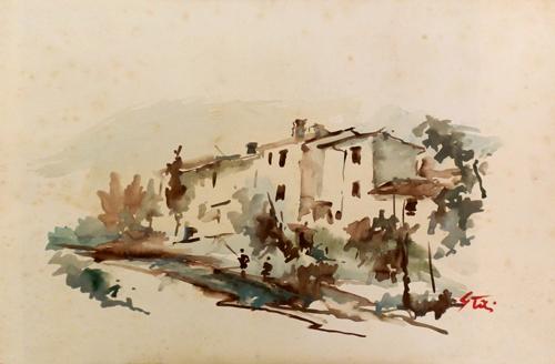 Art work by Gino Tili Case sul Mugnone - watercolor paper