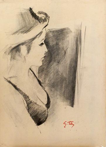 Quadro di Gino Tili Profilo di ragazza - carboncino carta