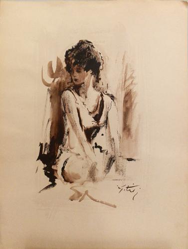 Quadro di Gino Tili Modella  - acquerello carta