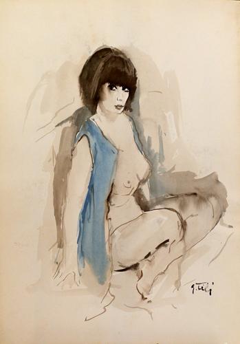 Quadro di Gino Tili Ragazza con il gilet blu - acquerello carta