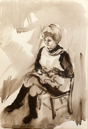 Quadro di Gino Tili Signora seduta - acquerello carta