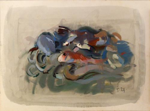 Art work by Gino Tili Natura morta di pesci - mixed paper