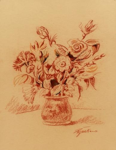 Quadro di Luigi Pignataro Vaso con fiori - sanguigna cartone