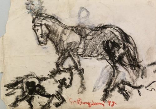 Quadro di Guido Borgianni Cavallo al circo - carboncino carta