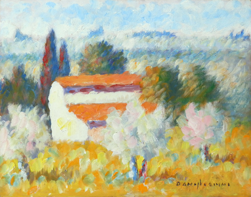 Art work by Dino Migliorini Casolare di campagna - oil hardboard