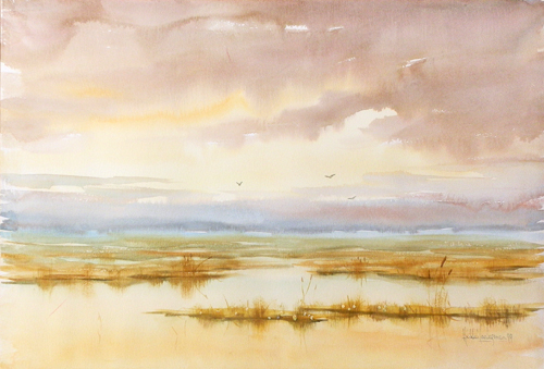 Art work by Heikki Laaksonen Oro all'alba - watercolor paper