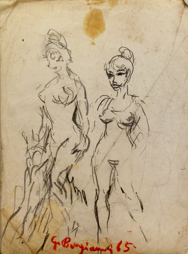 Quadro di Guido Borgianni Le prostitute - carboncino carta