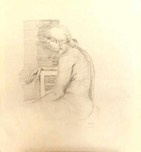 Quadro di  Cefi Posa di donna - lapis carta