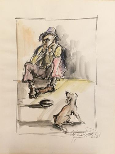 Quadro di Paolo Vespignani Il mendicante - mista carta