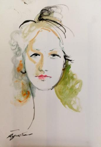 Quadro di Luigi Pignataro Volto femminile - acquerello carta