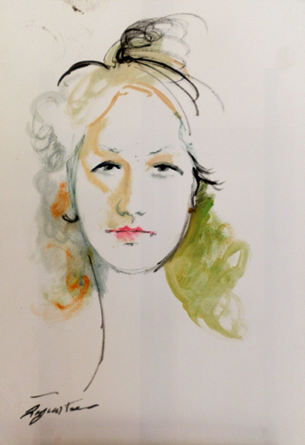 Quadro di Luigi Pignataro Volto femminile - Pittori contemporanei galleria Firenze Art