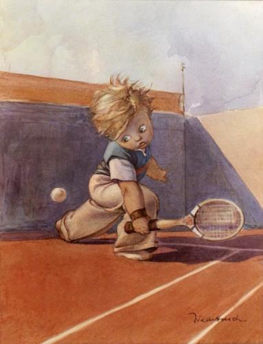 Quadro di Walter Hersch Giocatore di tennis - Pittori contemporanei galleria Firenze Art