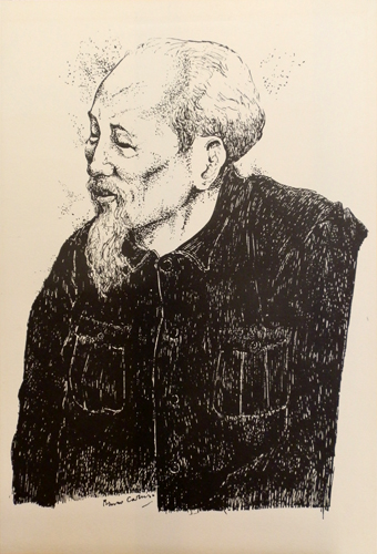 Art work by Bruno Caruso Ho Chi Minh - lithography paper