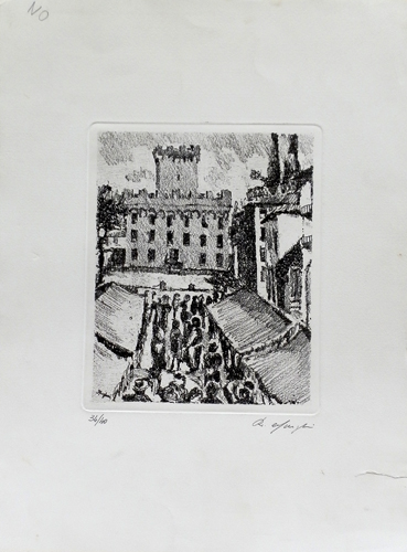 Art work by firma Illeggibile Piazza di città - lithography paper