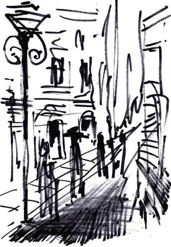 Quadro di Vanessa Katrin Strada cittadina - Pittori contemporanei galleria Firenze Art