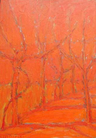 Art work by Dino Migliorini Bosco rosso - oil table