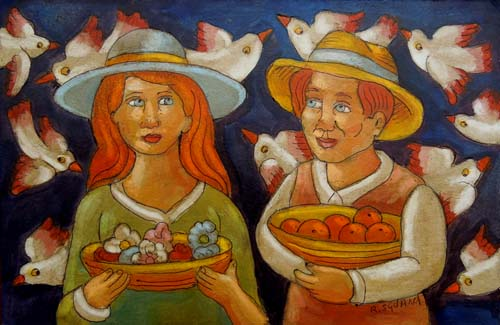 Quadro di Roberto Sguanci Coppia con fiori e frutta - Pittori contemporanei galleria Firenze Art