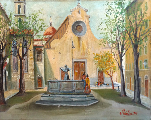 Art work by Nello Pratolini Piazza S. Spirito - oil canvas