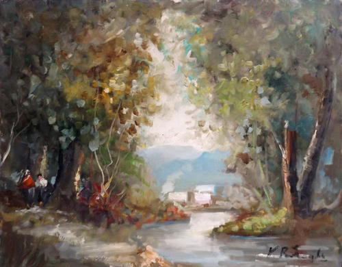 Art work by firma Illeggibile Paesaggio - oil table