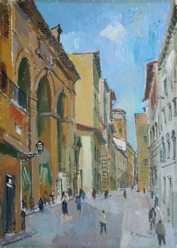 Art work by Rodolfo Marma Angolo del Porcellino all'alba  - oil canvas