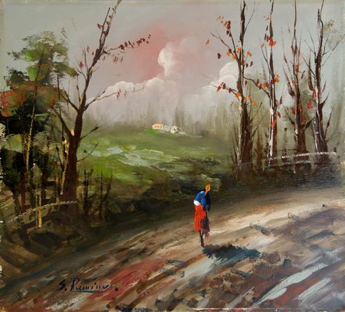 Art work by firma Illeggibile Rosso di sera - oil plywood