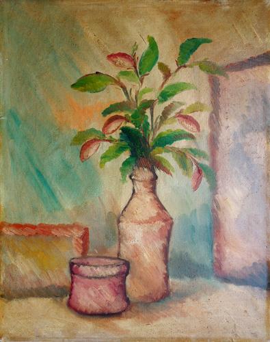 Quadro di firma Illeggibile Vaso di fiori - olio tela