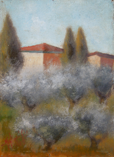 Quadro di (Giò Migliori) Romolino Paesaggio - olio cartone