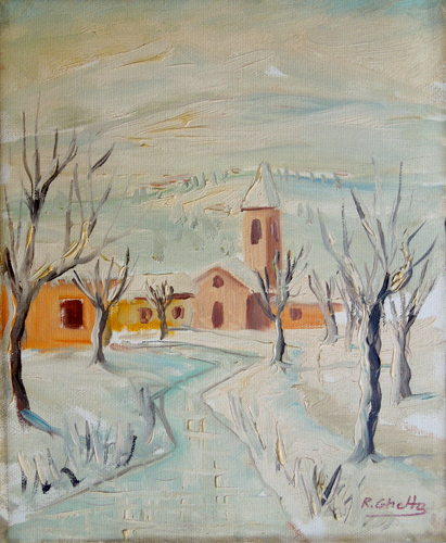 Art work by Raffaele Ghetta Nevicata - oil canvas