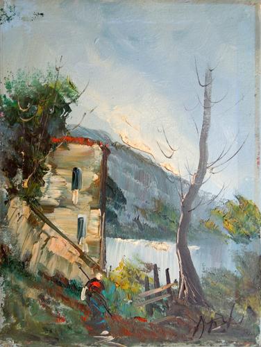 Art work by S. Stilio Paesaggio di montagna - oil canvas