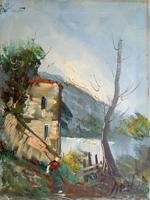 Quadro di S. Stilio - Paesaggio di montagna olio tela