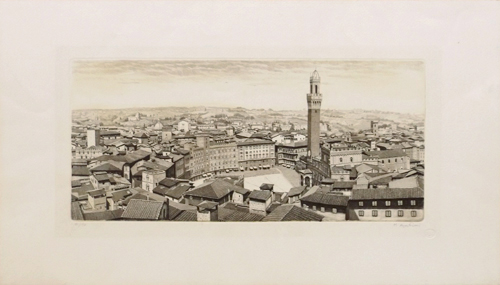 Art work by Mario Agostini Piazza del Campo a Siena - lithography paper