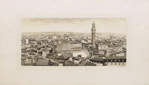 Quadro di Mario Agostini Piazza del Campo a Siena - litografia carta