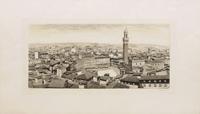 Quadro di Mario Agostini - Piazza del Campo a Siena litografia carta