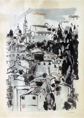 Quadro di Renzo Grazzini Scorcio di città - litografia carta