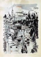 Quadro di Renzo Grazzini - Scorcio di città litografia carta