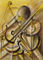 Quadro di Sereno Serena - Voce e musica  olio tela