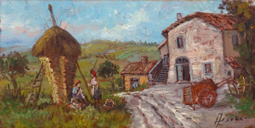 Art work by Assuero Fogli Scena campestre - oil canvas