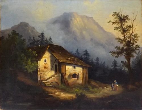 Quadro di  Anonimo Paesaggio montano - olio tela