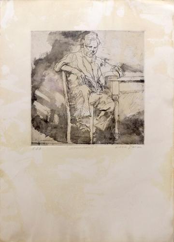 Quadro di Mario Fallani Uomo seduto - litografia carta