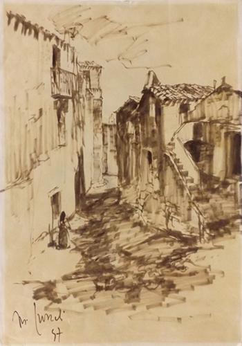 Art work by firma Illeggibile Paesaggio  - watercolor paper
