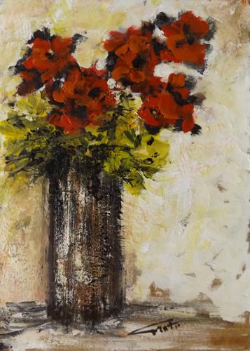 Quadro di firma Illeggibile Vaso di fiori - mista faesite