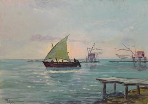 Quadro di  Millus (Mario Illusi) Marina - olio faesite
