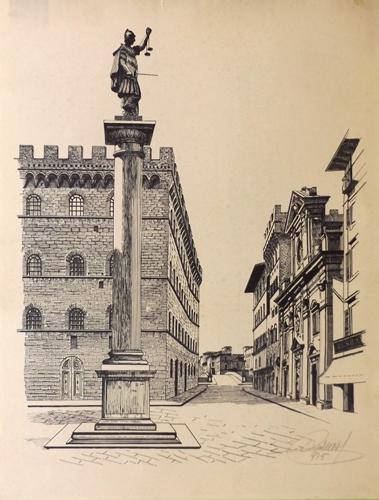Quadro di firma Illeggibile Piazza Santa Trinita a Firenze - stampa carta