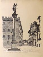 Quadro di firma Illeggibile - Piazza Santa Trinita a Firenze stampa carta