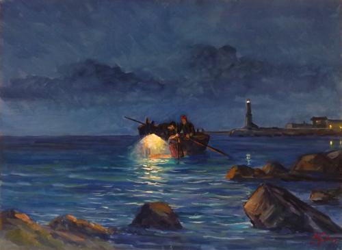 Quadro di  Millus (Mario Illusi) Notturno - olio tavola
