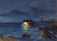 Quadro di  Millus (Mario Illusi) - Notturno olio tavola