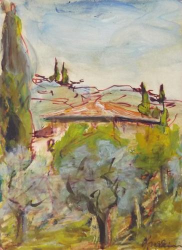Art work by Renzo Grazzini Paesaggio - watercolor paper