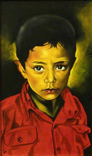 Quadro di Paolo Lenti La camicia rossa - olio tavola