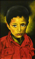 Quadro di Paolo Lenti - La camicia rossa olio tavola